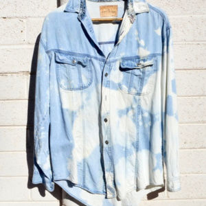 Levis Denim Shirt Long Sleeve Blouse Top Tie Dye